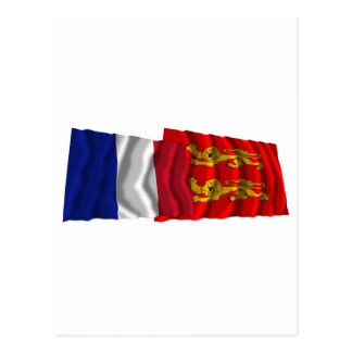 France & Basse-Normandie waving flags Postcard