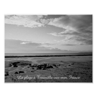 France beach photograph black white poster