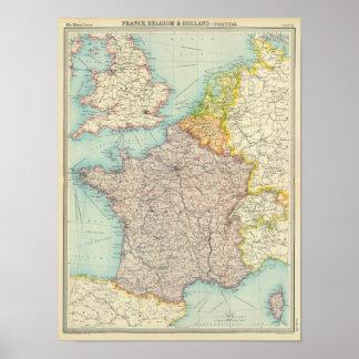 France, Belgium & Holland political Poster