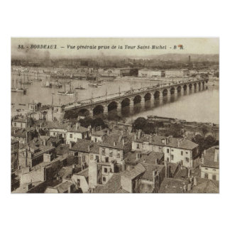 France, Bordeaux, barges on river moorings, 1930 Poster