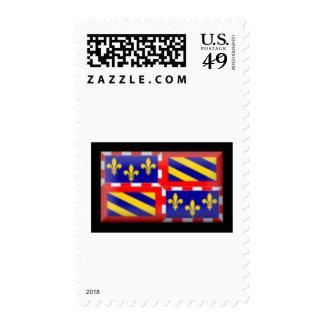 France-Bourgogne Flag Postage Stamp