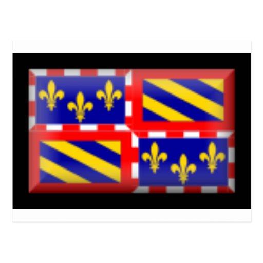France-Bourgogne Flag Postcard