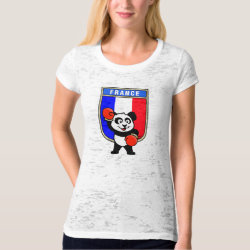 Women's Canvas Fitted Burnout T-Shirt with French Boxing Panda design
