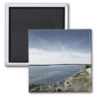 France, Brittany, Finistere Department, Bench, 2 Inch Square Magnet