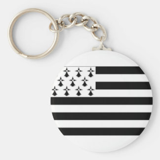 France Brittany Flag Basic Round Button Keychain