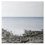 France, Brittany, Rocky beach and ocean Large Square Tile