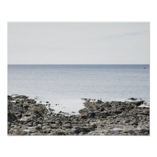 France, Brittany, Rocky beach and ocean Poster
