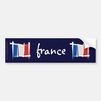 France Brush Flag Car Bumper Sticker