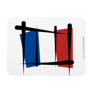France Brush Flag Magnet