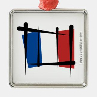 France Brush Flag Metal Ornament