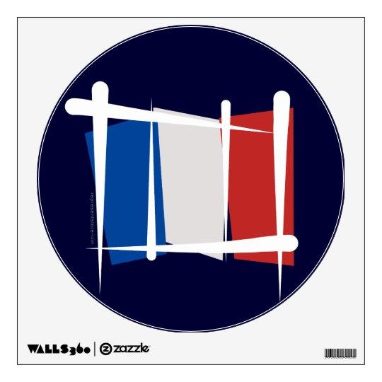 France Brush Flag Wall Sticker