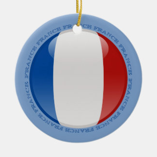France Bubble Flag Double-Sided Ceramic Round Christmas Ornament