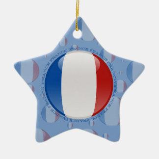 France Bubble Flag Double-Sided Star Ceramic Christmas Ornament
