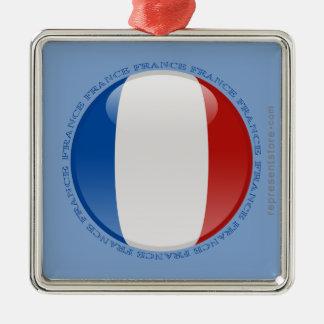 France Bubble Flag Metal Ornament