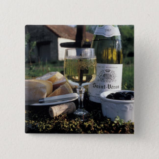 France, Burgundy, Chablis. Local wine and Button