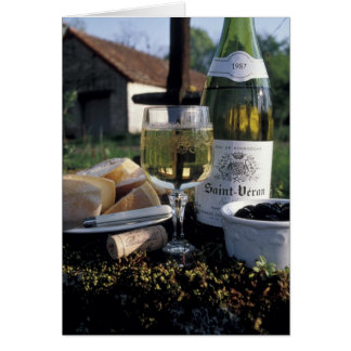 France, Burgundy, Chablis. Local wine and Card