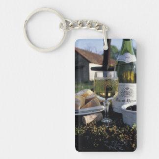 France, Burgundy, Chablis. Local wine and Double-Sided Rectangular Acrylic Keychain