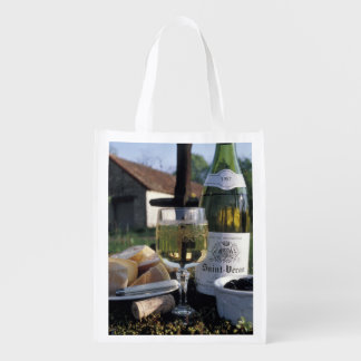 France, Burgundy, Chablis. Local wine and Grocery Bag