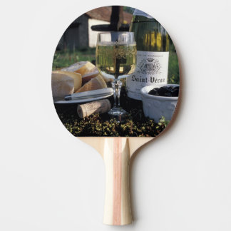 France, Burgundy, Chablis. Local wine and Ping-Pong Paddle