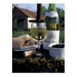 France, Burgundy, Chablis. Local wine and Postcard