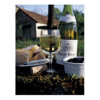 France, Burgundy, Chablis. Local wine and Postcard