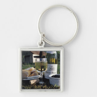 France, Burgundy, Chablis. Local wine and Silver-Colored Square Keychain