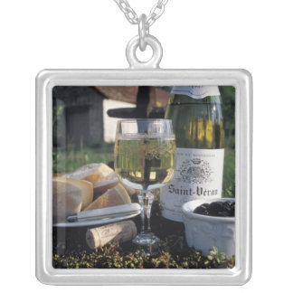 France, Burgundy, Chablis. Local wine and Silver Plated Necklace