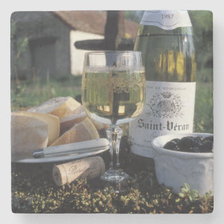 France, Burgundy, Chablis. Local wine and Stone Coaster