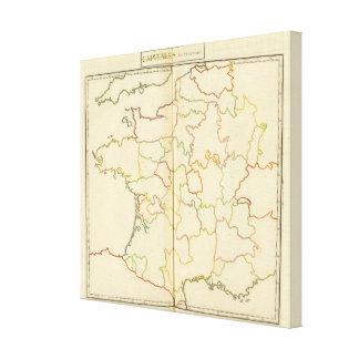 France  Capitals Outlines Canvas Prints
