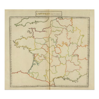 France  Capitals Outlines Poster