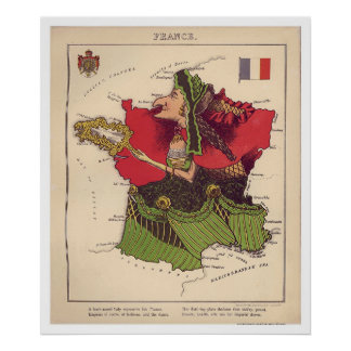 France Caricature Map 1868 Poster