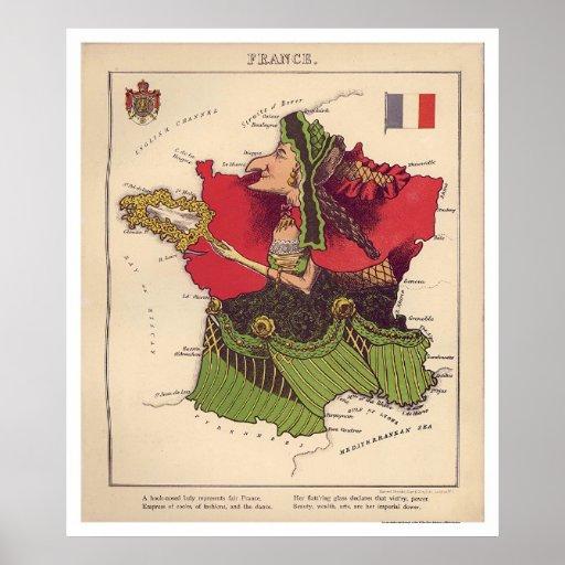France Caricature Map 1868 Print