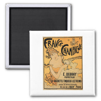 France Champagne Vintage Wine Drink Ad Art 2 Inch Square Magnet