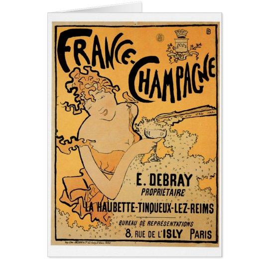 France Champagne Vintage Wine Drink Ad Art Card