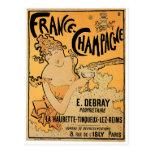France Champagne Vintage Wine Drink Ad Art Postcard