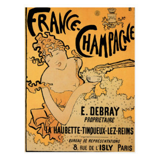 France Champagne Vintage Wine Drink Ad Art Postcard
