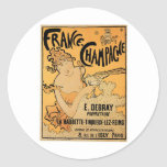 France Champagne Vintage Wine Drink Ad Art Classic Round Sticker