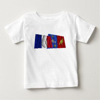 France & Charente-Maritime waving flags Baby T-Shirt