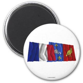 France & Charente-Maritime waving flags Magnet