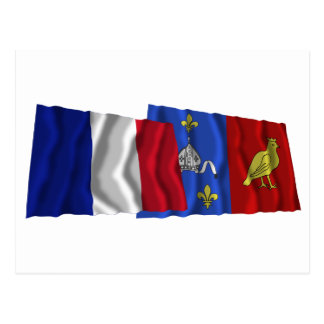France & Charente-Maritime waving flags Postcard