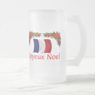 France Christmas Frosted Glass Beer Mug