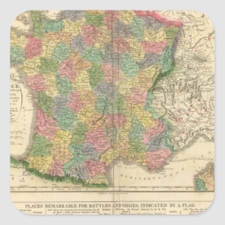 France Chronology Map Square Sticker