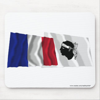 France & Corse waving flags Mouse Pad