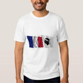 France & Corse waving flags Shirts