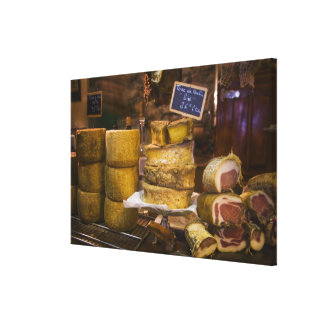France, Corsica. Local cheeses and charcuterie Canvas Print