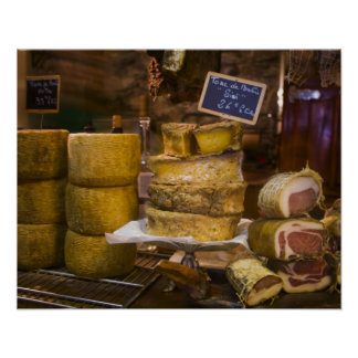 France, Corsica. Local cheeses and charcuterie Poster