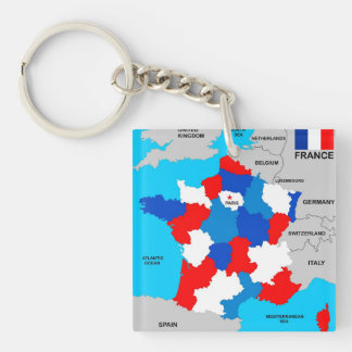 france country political map flag keychain