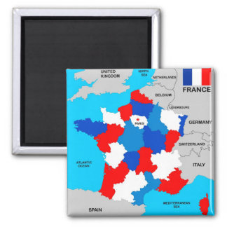france country political map flag magnet