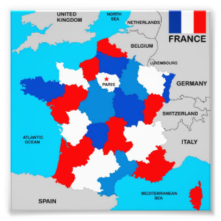 france country political map flag art photo