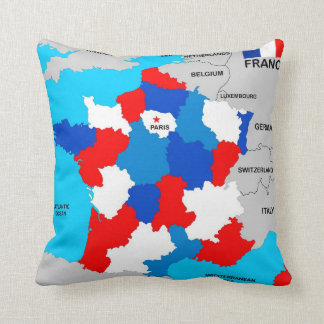 france country political map flag pillows